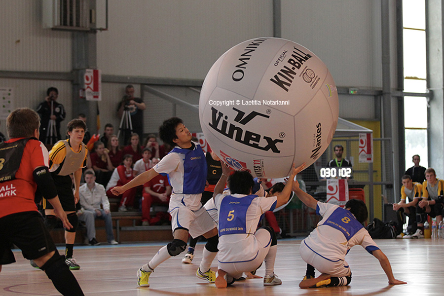 Japanese team (JPN) play at the men's 1th mondial meeting of Kinball in Nantes, western France, on October 26, 2011. Photo by Laetitia Notarianni/ABACAPRESS.COM