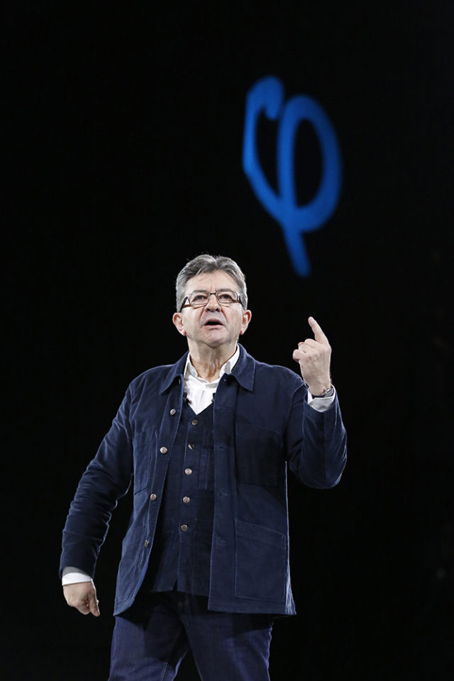 French presidential election candidate for the far-left coalition « La France insoumise » Jean-Luc Melenchon speaks during a rally on March 26, 2017 in Rennes, western France.